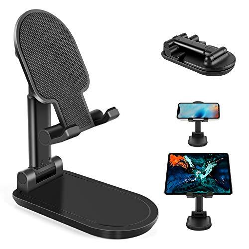Soporte Móvil Teléfono, Soporte Tablet Portátil Mesa Escritorio Plegable Multi-ángulo Ajustable en Altura