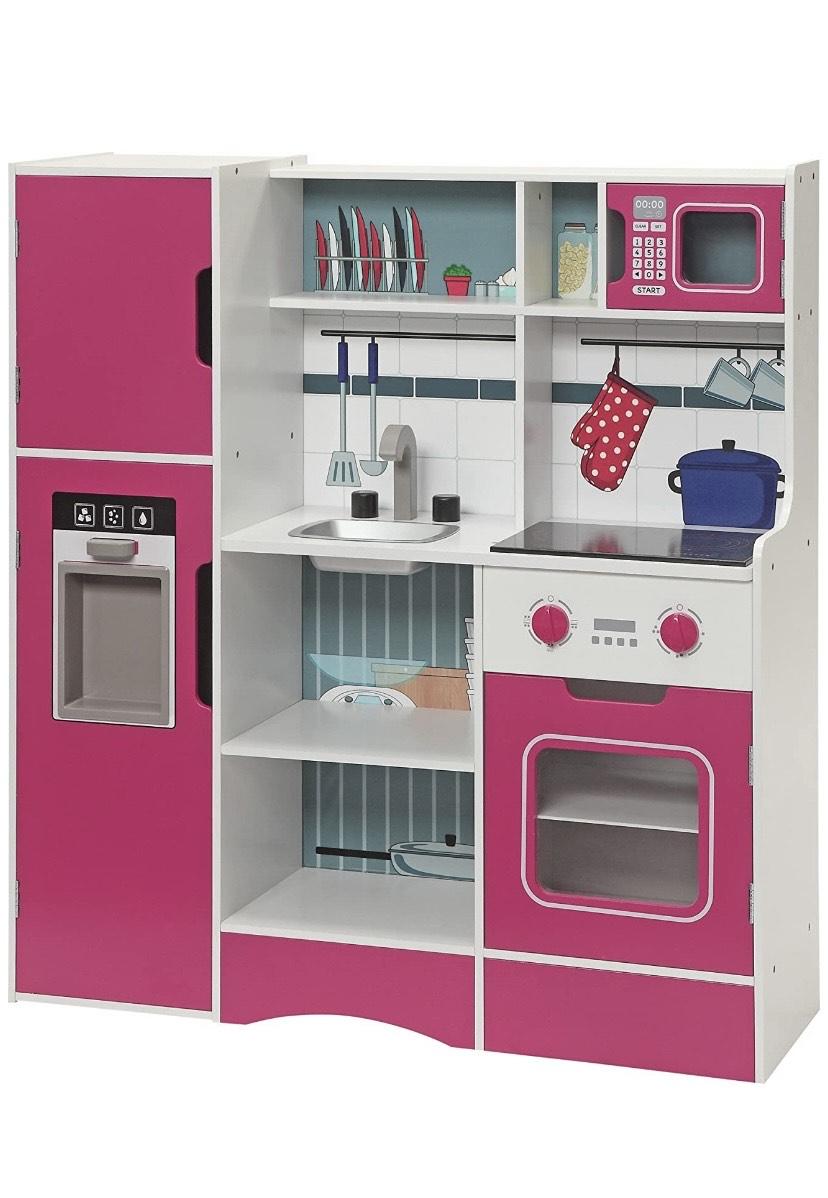 Small Foot- Cocina para Niños, Madera, Color Rosa/Blanco, 87 x 27 x 94 cm