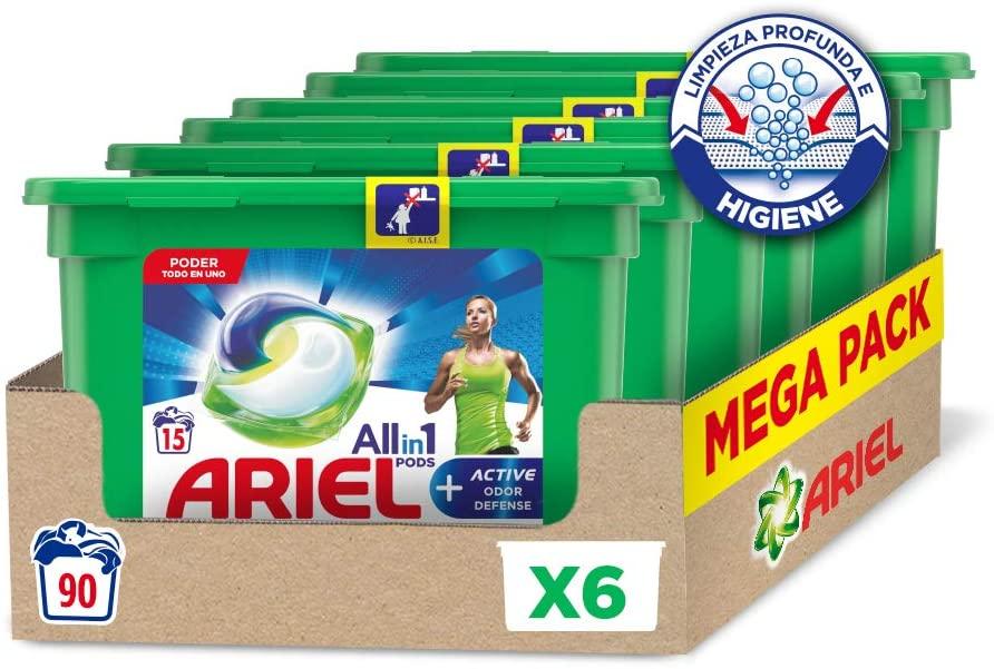 Ariel Allin1 Pods Active - Detergente en cápsulas para la lavadora, óptimo para eliminar los malos olores, 90 lavados (6 x 15
