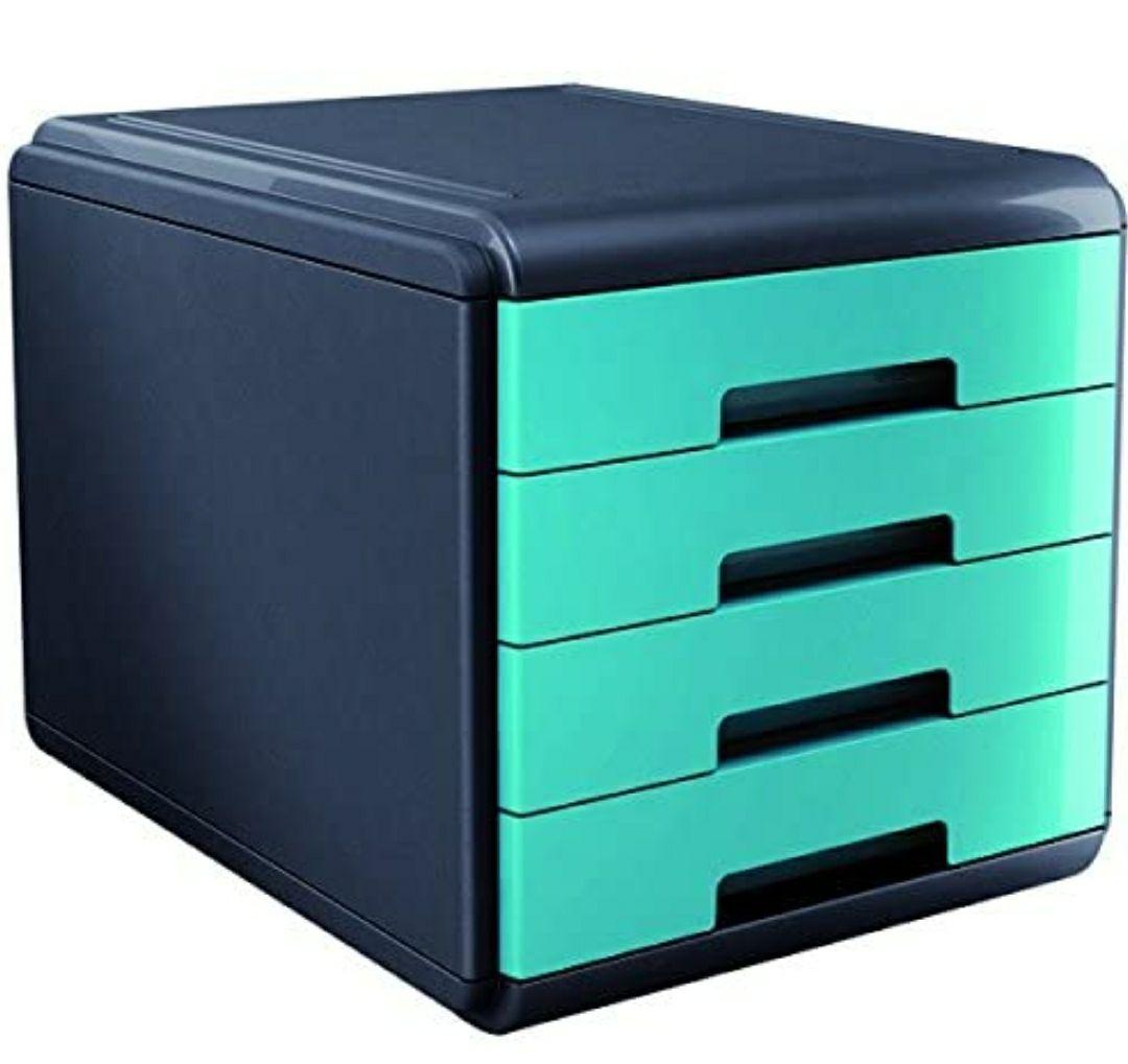 My Desk Arda - Armario de escritorio (4 cajones), color turquesa