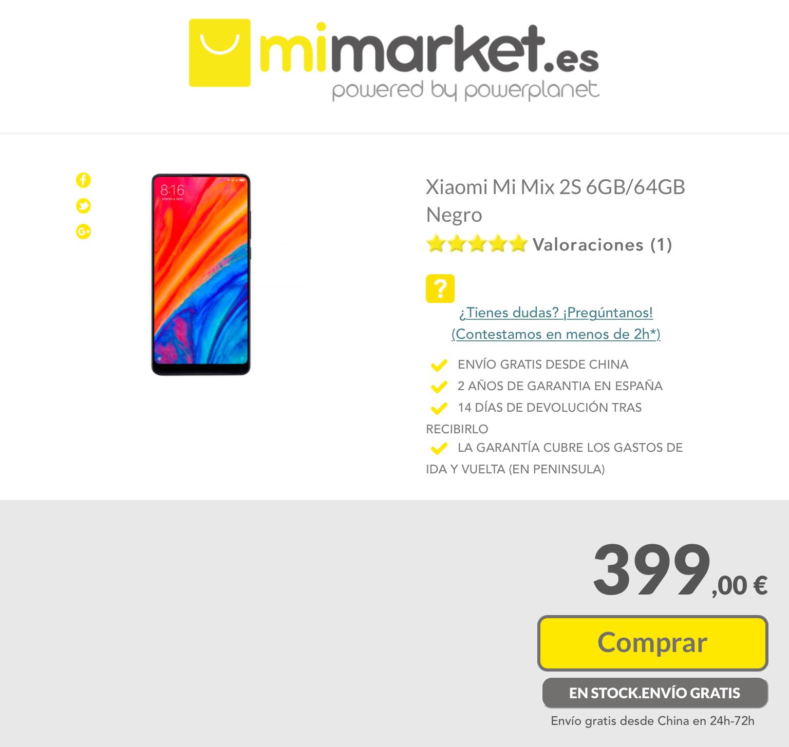 Mi Mix 2S 6/64 por 399€
