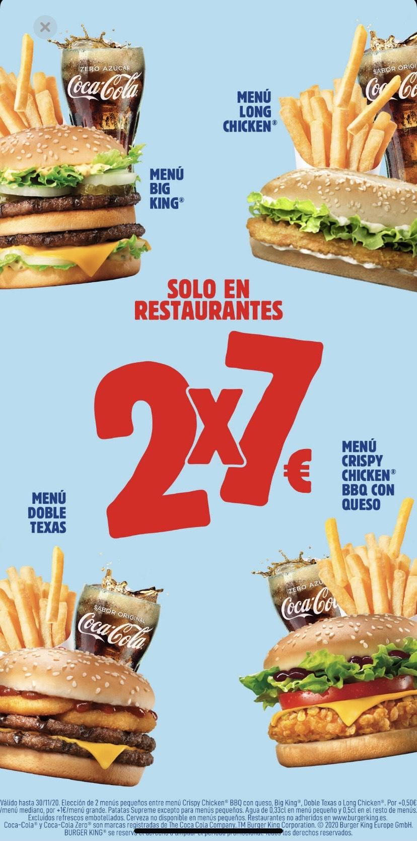 2 menús pequeños por 7 euros en Burger King