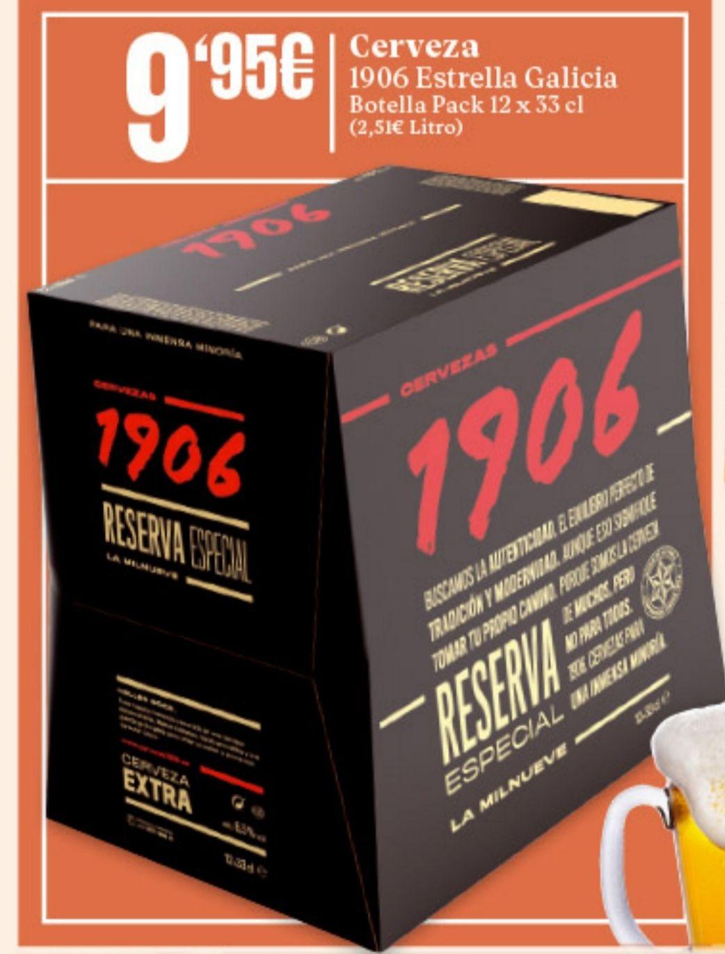 pack 12 botellas de 1906 de 33 cl cristal en supermercados gadis de Galicia