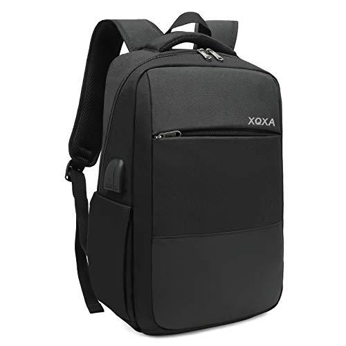 XQXA Mochila Unisex Impermeable para Ordenador Portátil 15.6 Pulgadas, Puerto USB, Conector para Auriculares y Bolsillo Antirrobo