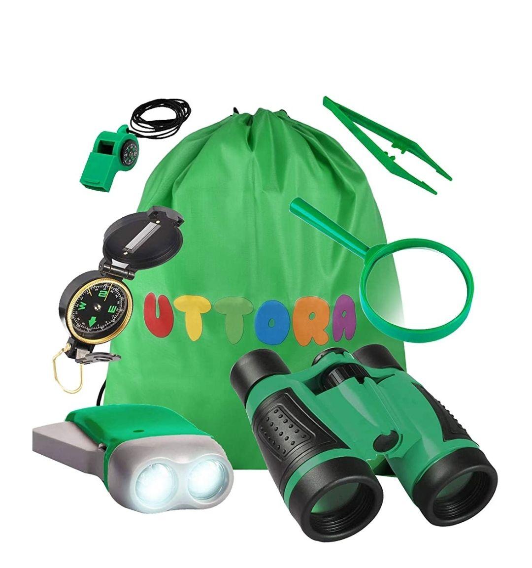 Kit de Binoculares para Niños, Kit de Exploración para Niños 7 en 1, Prismáticos, Linterna LED de Mano, Brújula, Lupa, Silbato, Mochilla