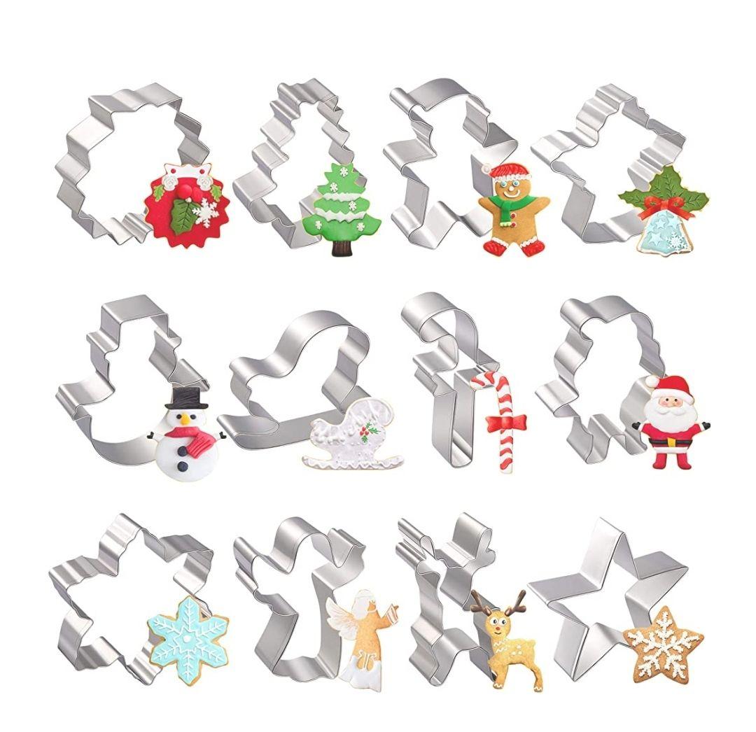 Moldes para Galletas Navidad, joyoldelf 12 Pcs ,Árbol de Navidad, Reno, Santa, Copo de Nieve, Muñeco de Nieve, Reno y otras