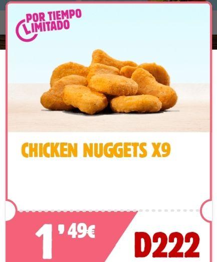 9 chicken nuggets por tiempo limitado.