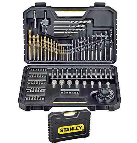 100 piezas de Stanley STA7205-XJ - Juego de Brocas (Taladro, Albañilería, Metal, Madera) Acero inoxidable, Negro.