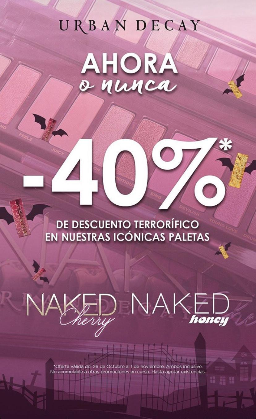-40% en las paletas Naked Honey y Naked Cherry de Urban Decay