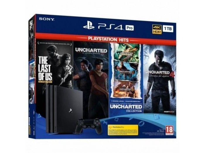 Sony PlayStation 4 Pro 1TB + The Last of Us + Uncharted Collection + Uncharted 4 + El Legado Perdido