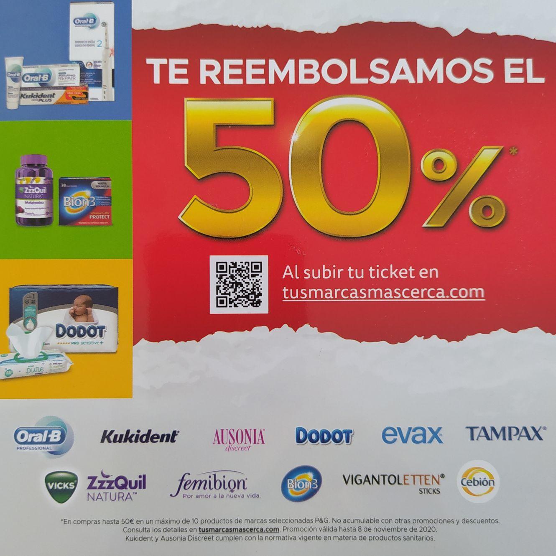 Reembolso 50% en marcas seleccionadas (Tampax, Oral B, Dodot...)