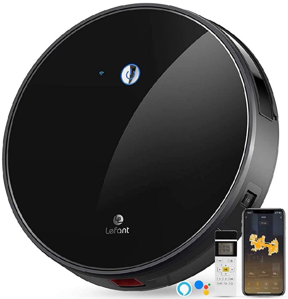 Robot Aspirador,succión de 2200 Pa,Control WiFi,Funciona con Alexa y Google (Precio Mínimo)