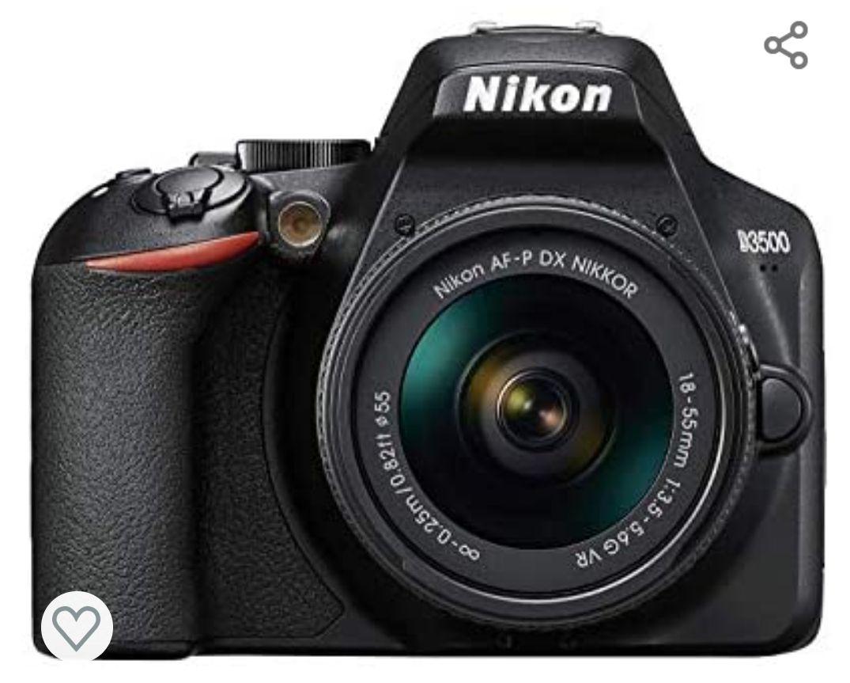 Nikon D3500 - Cámara réflex de 24 MP (Full HD, ISO de 100–25600, sistema de autofoco, LCD, SnapBridge) - kit con objetivo, estuche y libro