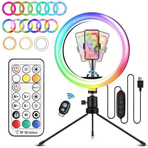 Aro de luz de colores para grabar con móvil