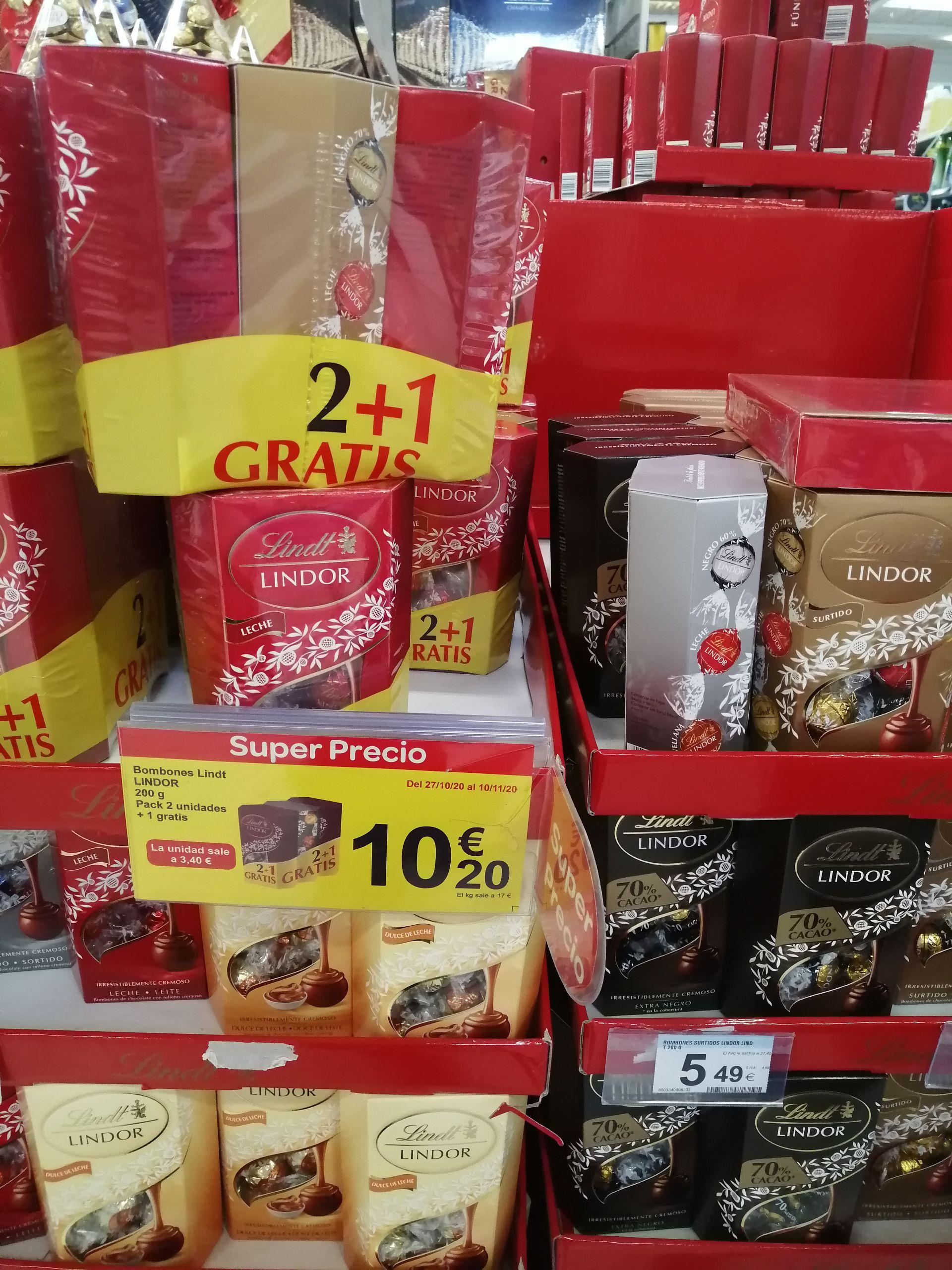 3 cajas de bombones Lindor en Carrefour Almería