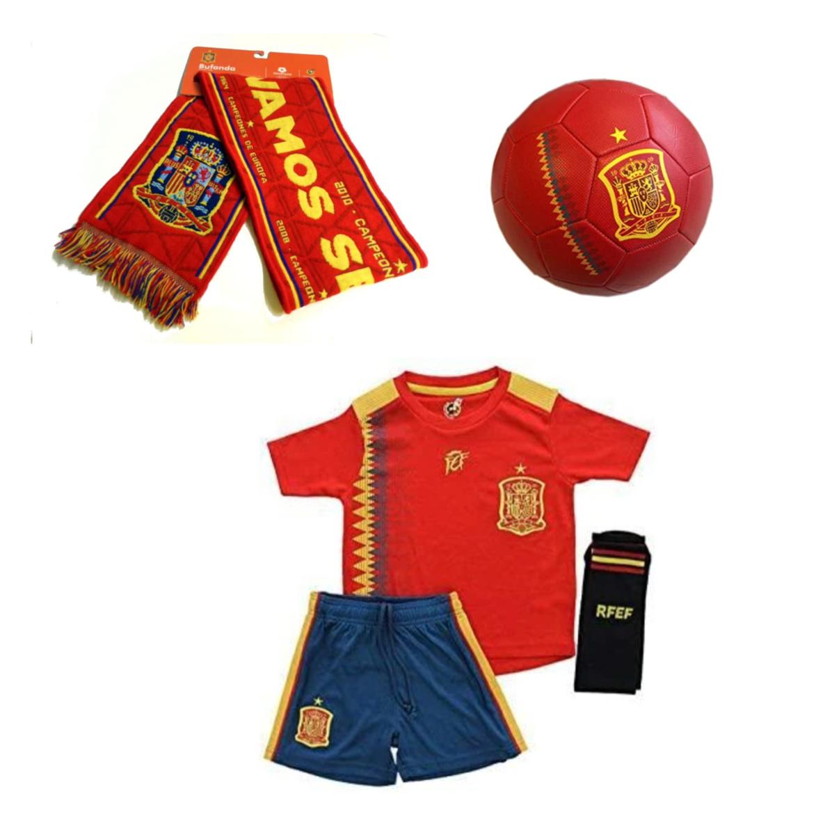 Equipación para niño, balón y bufanda de la selección Española