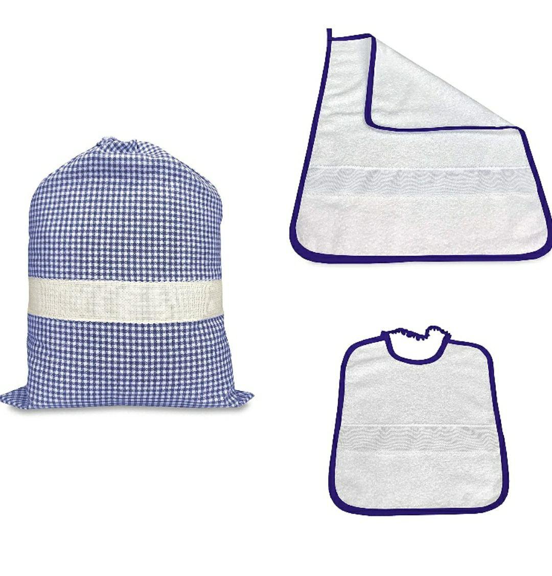 Juego de guardería Tris saco y toalla y babero a cuadros teñidos de hilo con tela Aida para bordar el nombre - Azul