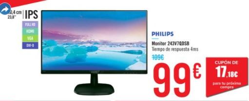 """Monitor Philips 243V7QDSB/01 60,96cm - 24"""" 4ms"""
