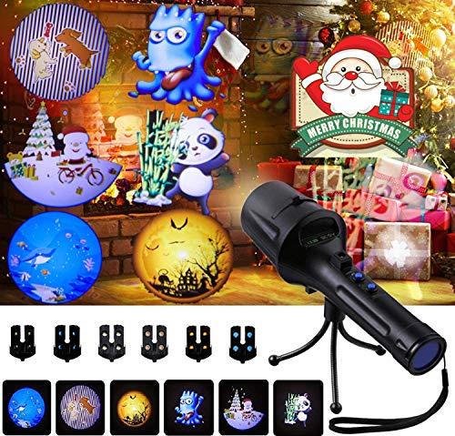 GODDE Luces de Proyector de Navidad con 6 Diapositivas para Fiesta, Navidad, Halloween, Regalo de Niños
