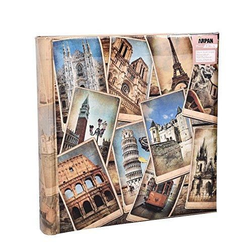 Álbum de Fotos, para 200 Fotos de 10 x 15 cm, con diseño Vintage, Collage destinos Europeos, Multicolor