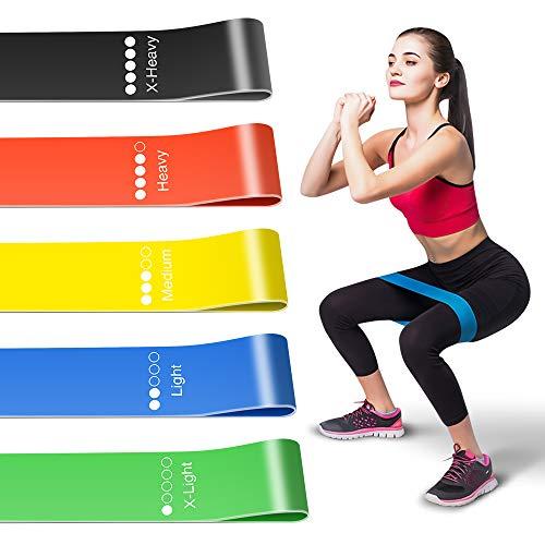 Bandas Elásticas Fitness (Set de 5 Cintas) para Yoga, Crossfit, Pilates