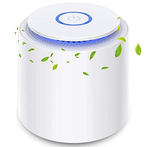 Purificador de Aire Portátil con Filtro HEPA Eficiente, USB Filtro de Aire de Escritorio con Luz Nocturna y Función de Aromaterapia, 100%