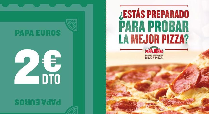 2 euros de descuento en papa jhon's