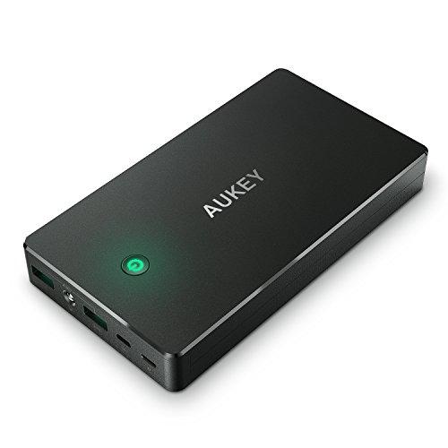 AUKEY Bateria Externa 20000mAh Power Bank con Entrada Lightning y Micro USB, 2 Salidas USB 3,4A para iPhone X/ 8/ 7/ 6s, Samsung S8+/ S8, Tablets y más