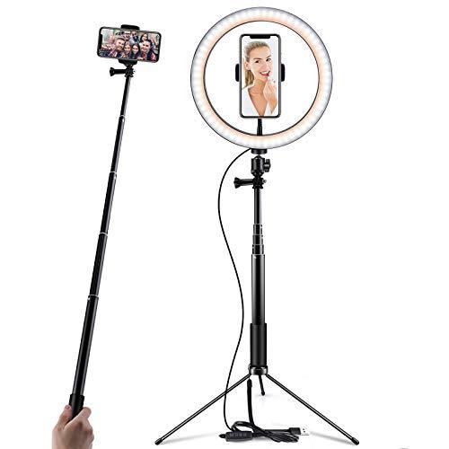 Anillo de luz de 10 pulgadas con trípode, Selfie y soporte móvil