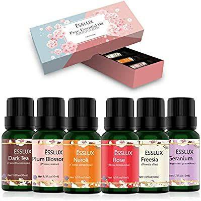 Aceites Esenciales Naturales, ESSLUX Flores Aceites Esenciales Para Humidificador Difusor Top 6 Set 100% Natural Puro
