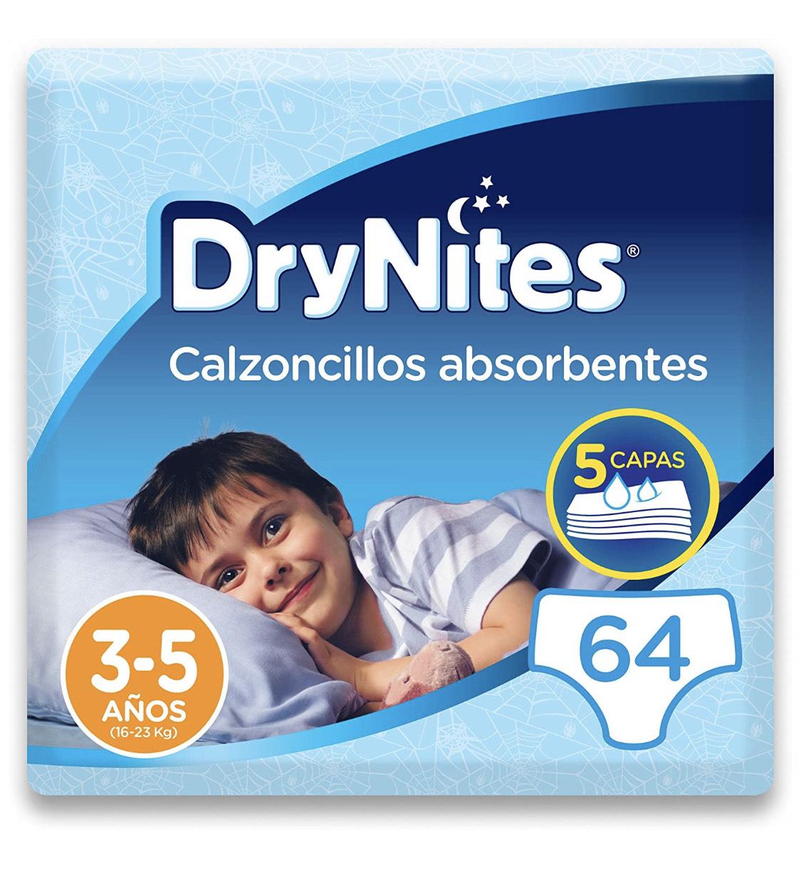 64 DryNites - Calzoncillos absorbentes para niño - 3 - 5 años (16-23 kg), 4 paquetes x 16 uds (64 unidades)
