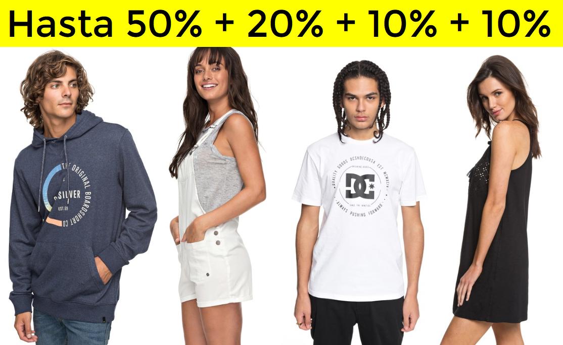 50% + 20% + 10% + 10% Quiksilver, Roxy y DC
