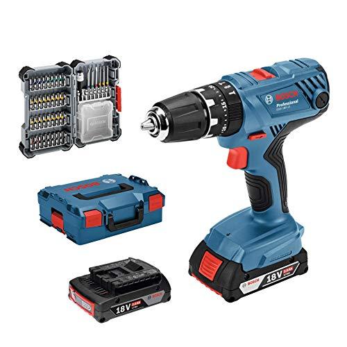 Pack Bosch Professional Taladro percutor a batería GSB 18V-21 (incl. batería de 2x2,0 Ah, juego de accesorios de 40 piezas, en L-BOXX 136)