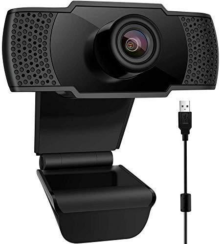 KKUYI 1080P Webcam con Micrófono con Clip Giratorio