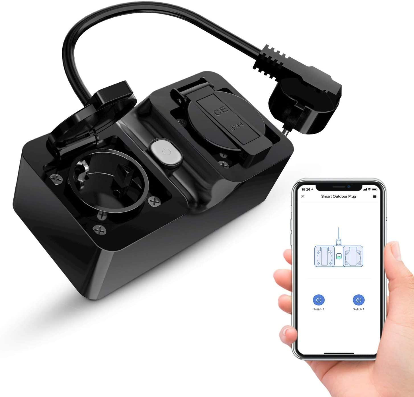 Enchufe inteligente doble exteriores compatible con Alexa, Google Home