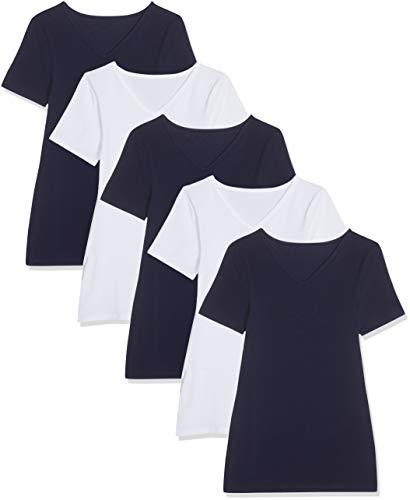 [Mínimo] Pack de 5 Maglev Essentials Camiseta con Cuello de Pico Mujer - Talla L