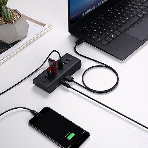 AUKEY Hub 7 Puertos USB con con adaptador de corriente