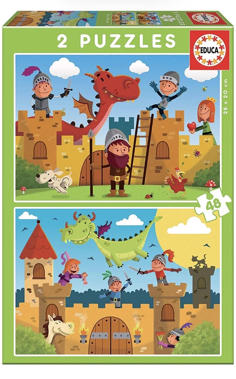 Educa - Dragones y Caballeros, 2 Puzzles infantiles de 48 piezas, a partir de 4 años