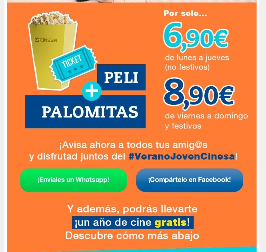 Entrada + Palomitas 6'80€! Para jovenes entre 14 y 20 años