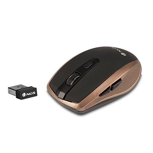 NGS Flea Pro RF inalámbrico Óptico 1600DPI mano derecha Oro - Ratón (RF inalámbrico, Oficina, Botones presionados, Rueda, Óptico, 1600 DPI)