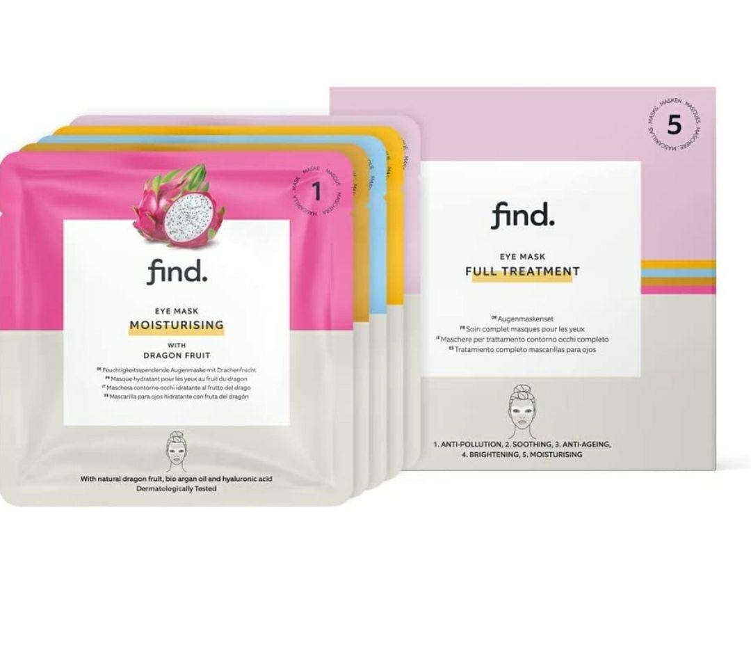 FIND - Tratamiento completo de mascarillas hidrogel, sin goteo, para el contorno de ojos, pack de 5 unidades
