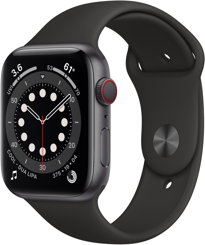 Apple Watch Series 6, GPS+CELL, 44 mm, Caja de aluminio en gris espacial, Correa negra