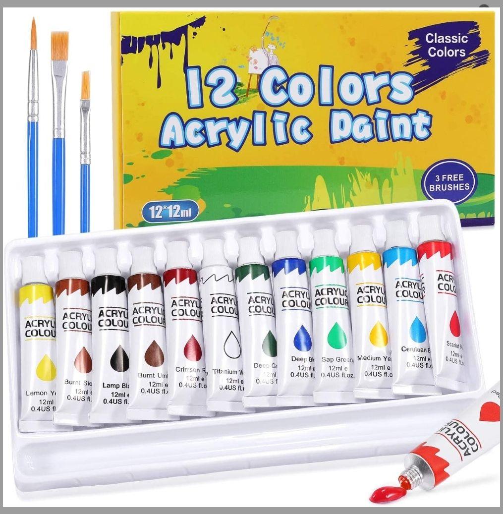 Pintura Acrílica, Gifort 12 x 12 ml,con 3 pinceles,No Tóxicos para Lienzo Papel Madera Tela y Manualidades