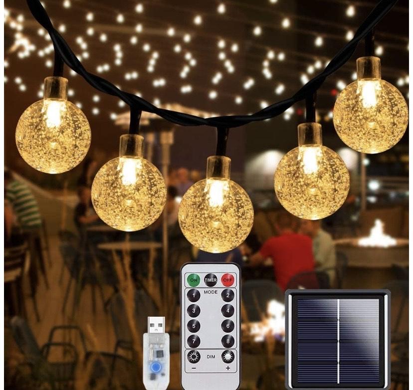 70 luces solares de cadena de luces LED impermeables
