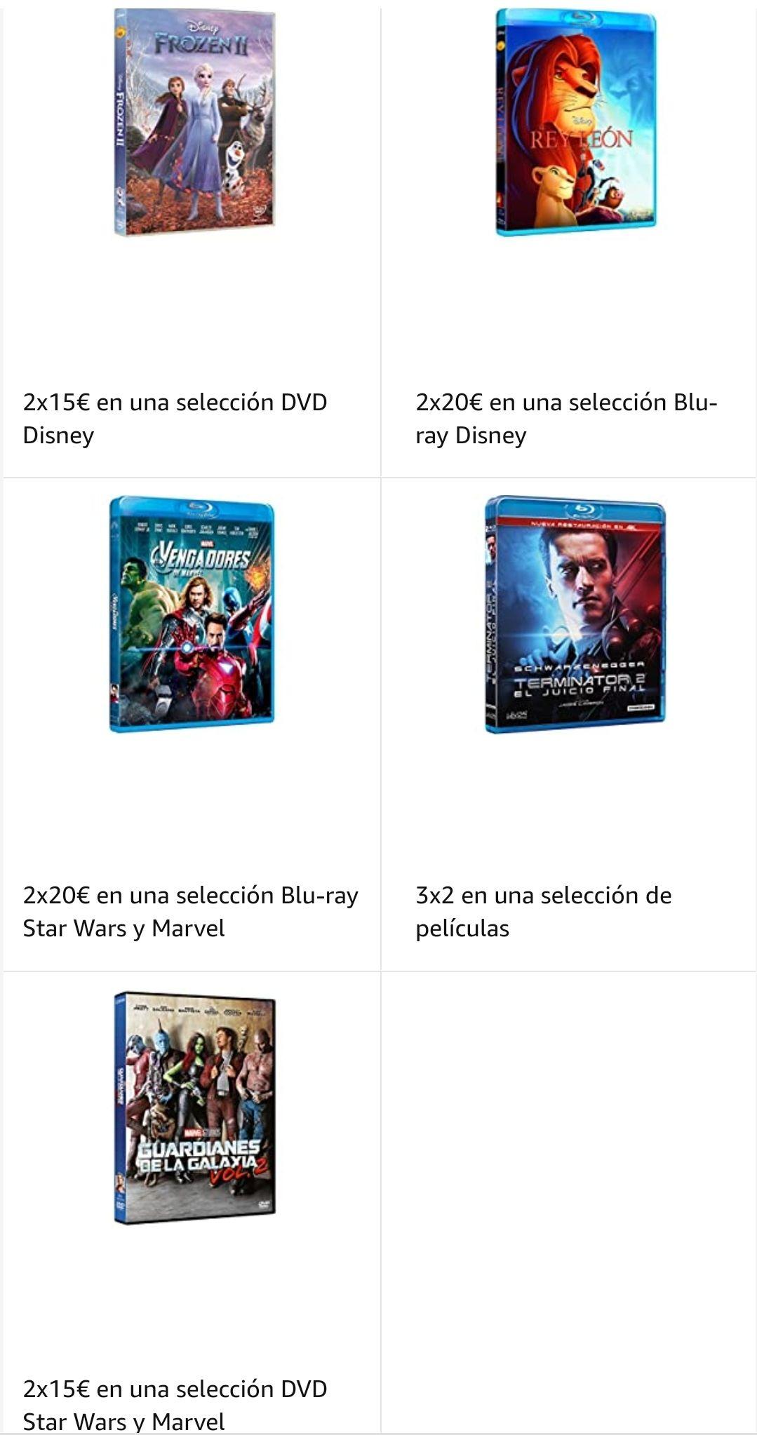 Ofertas 3x2 películas, 2x20€ Blu-ray, 2x15€ DVD en Amazon