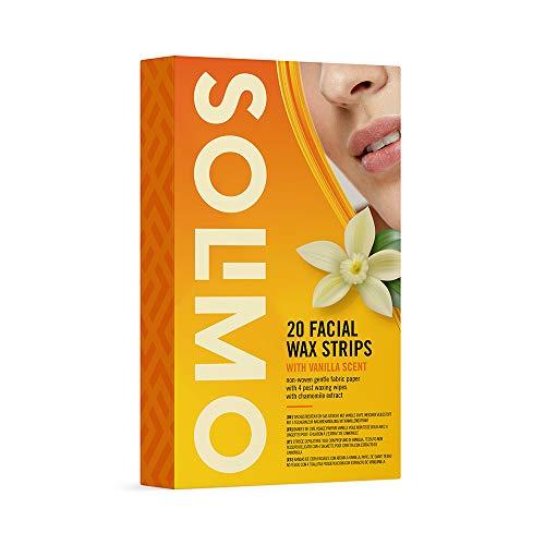 Bandas de cera faciales (4x20) aroma de vainilla + 4 toallitas posdepilación SOLIMO - AMAZON