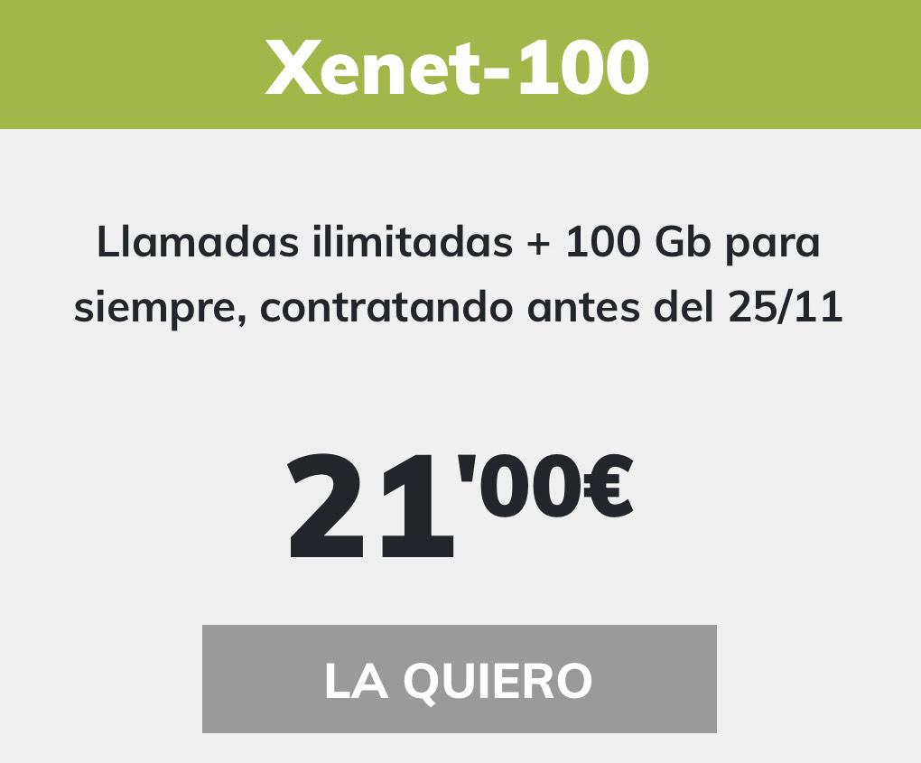 Llamadas ilimitadas + 100 Gb para siempre, contratando antes del 25/11