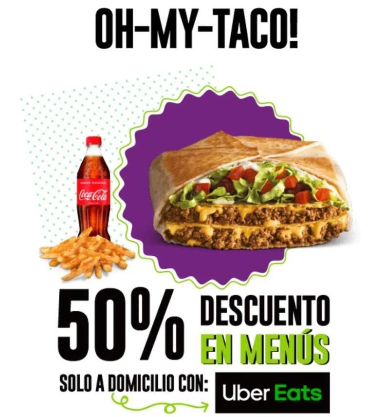 Descuento del 50% en menus de taco bell desde Uber eats