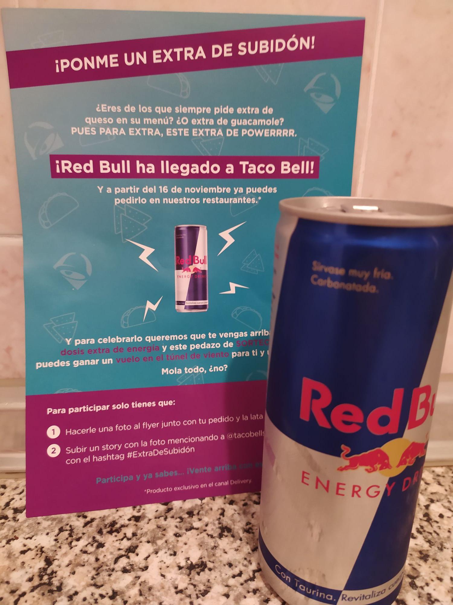 Obsequio RedBull con tu pedido en Taco Bell (Solo Delivery)