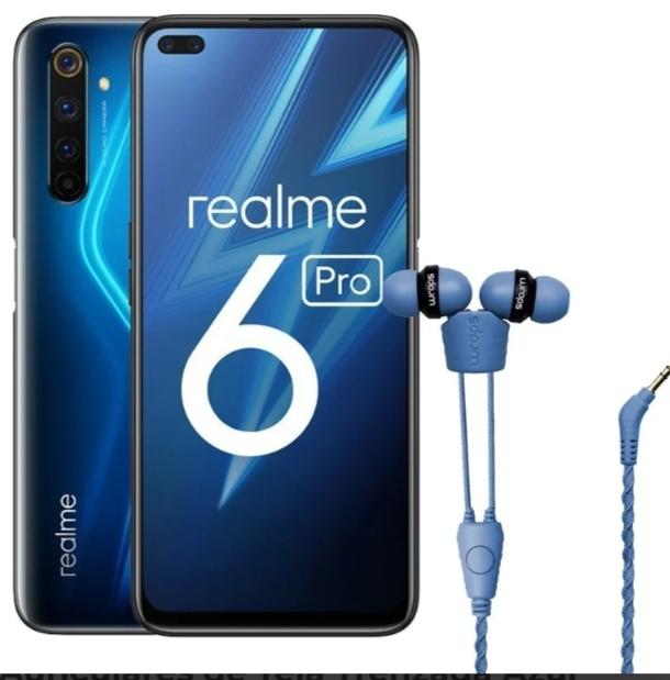 Pack Realme 6 Pro 6/128GB Lightning Blue Libre + Wraps Talk Denim Auriculares de Tela Trenzada Azul